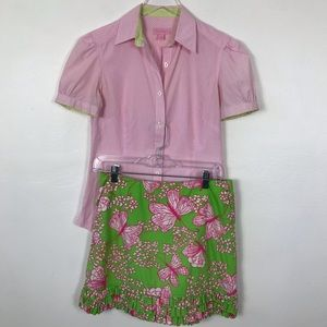 Lily Pulitzer 2 pieces shirt and skirt
